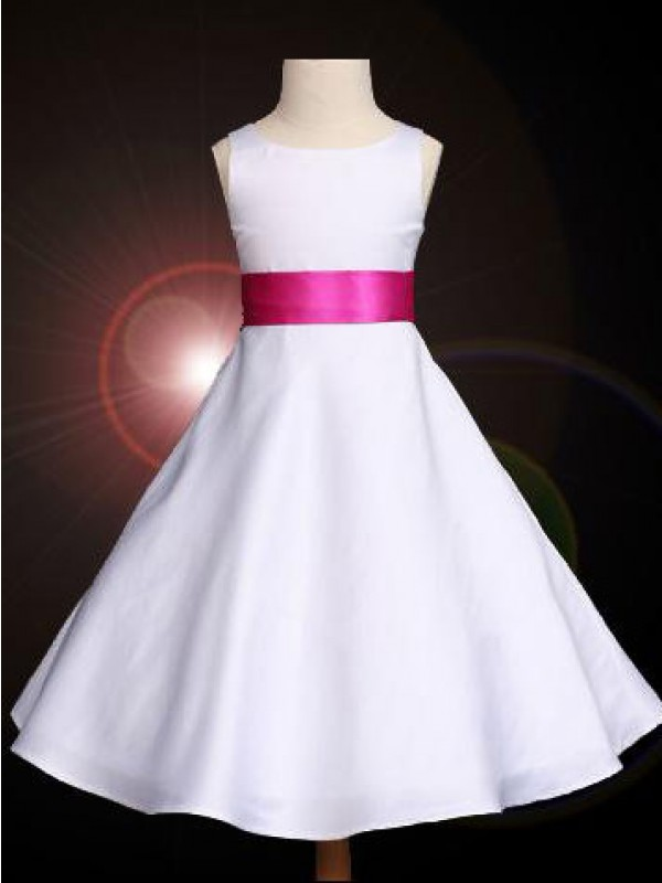 Ankle-Length A-Line/Princess Scoop Sleeveless Bowknot Satin Flower Girl Dresses