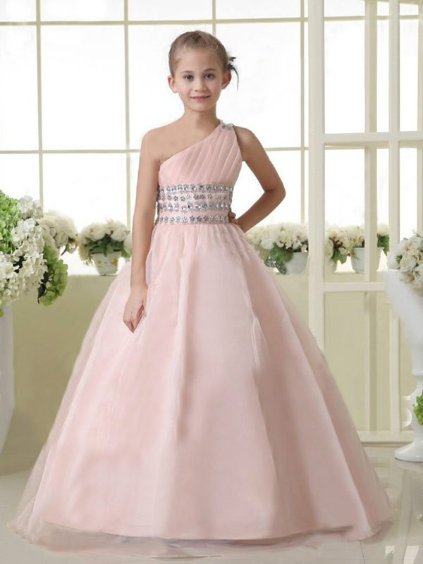 A-line/Princess One-shoulder Sleeveless Beading Long Organza Flower Girl Dresses