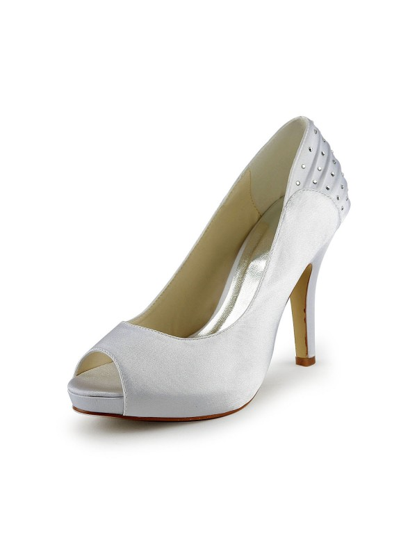 Women's Satin Stiletto Heel Peep Toe With Rhinestone Wedding Shoes