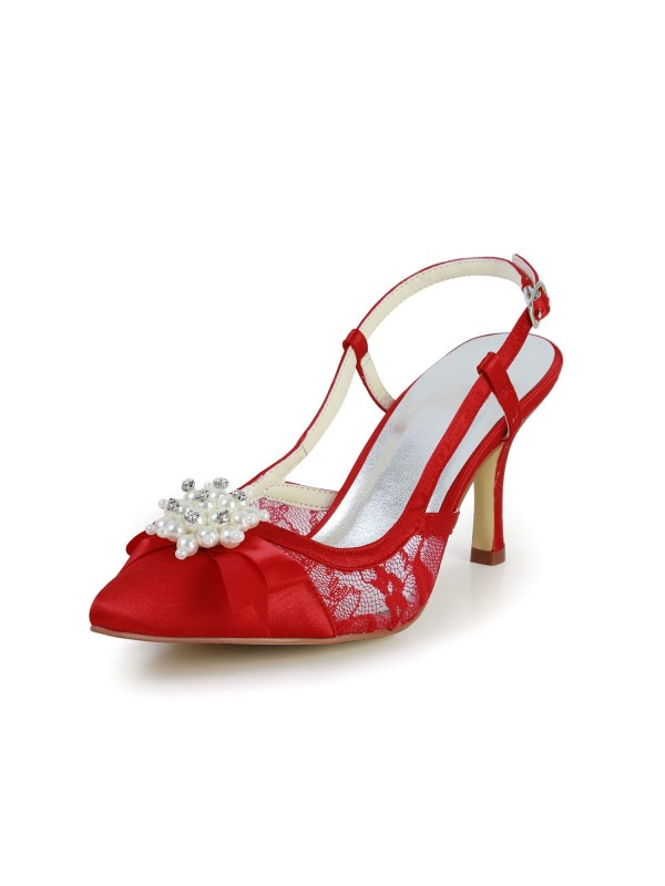 Women's Pretty Satin Stiletto Heel Sandals Closed Toe With Pearl Wedding Shoes