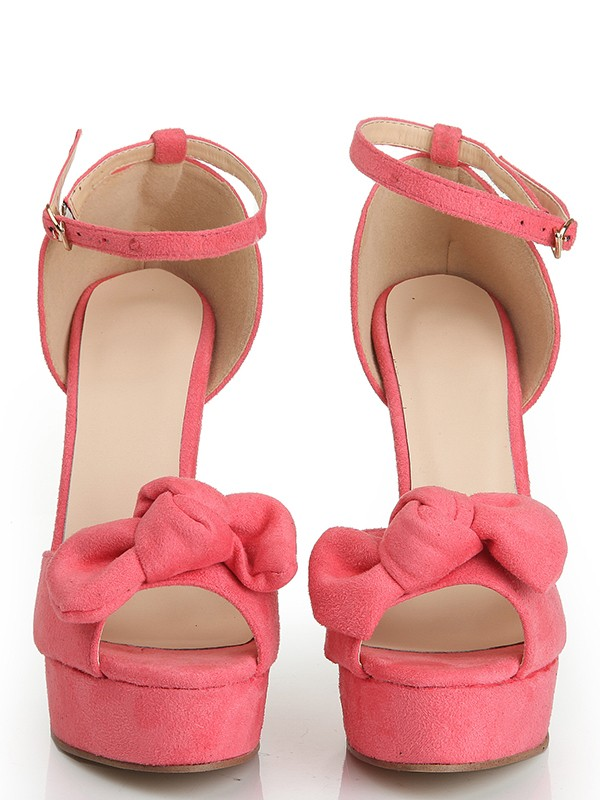 Women's Peep Toe Suede Stiletto Heel Platform With Knot Shoes