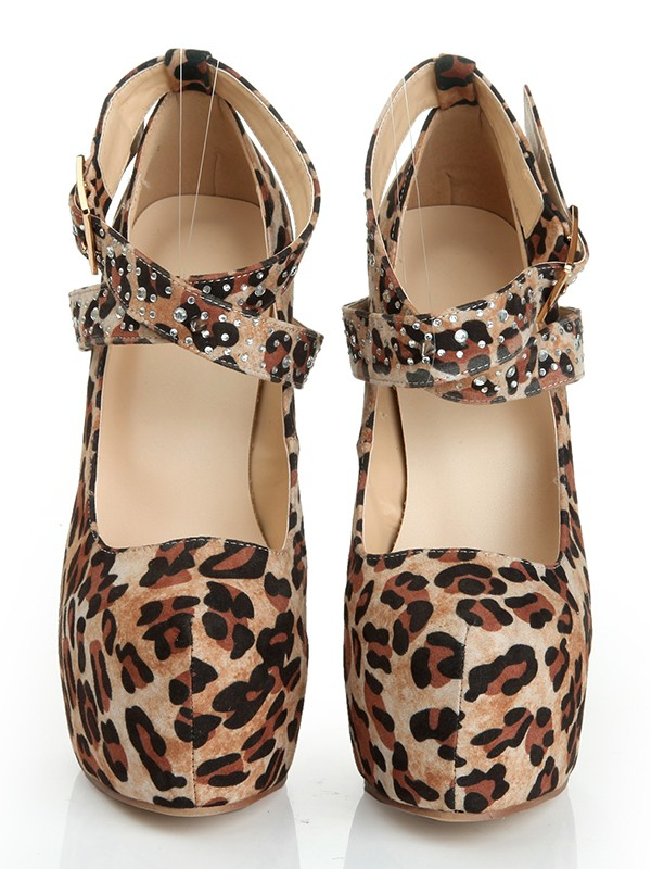 Women's Suede Stiletto Heel Closed Toe Platform With Leopard Print Shoes