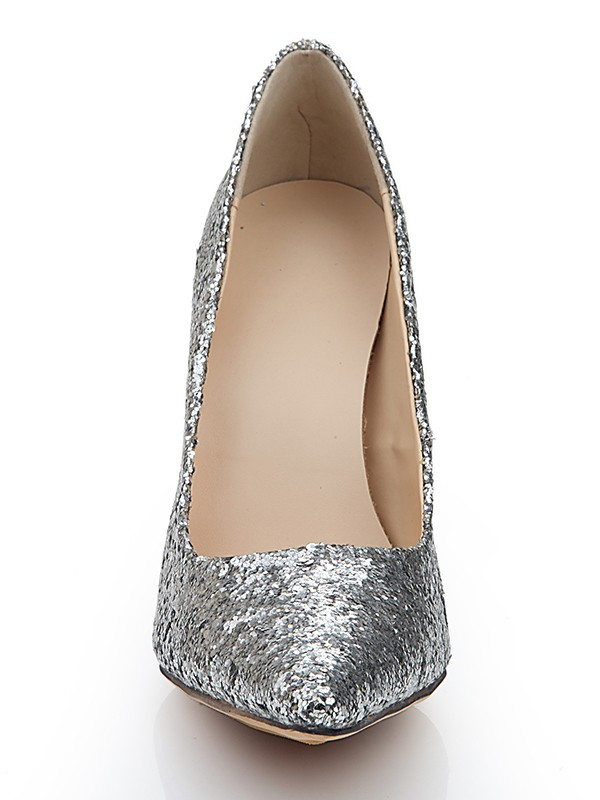 Women's Closed Toe Spool Heel Elastic Leather With Sequin Wedding Shoes