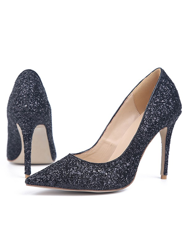 Women's Stiletto Heel Sparkling Glitter Closed Toe Evening Shoes