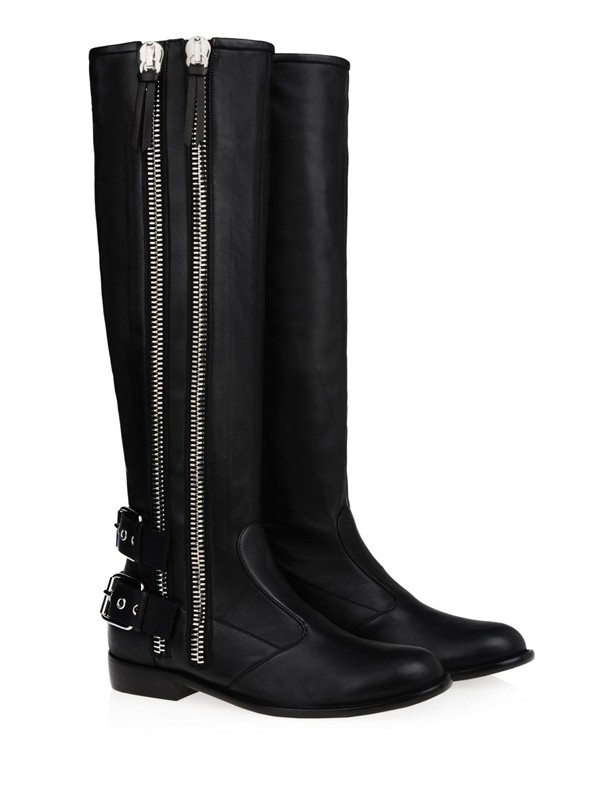 Women's Kitten Heel Cattlehide Leather With Buckle Zipper Knee High Boots