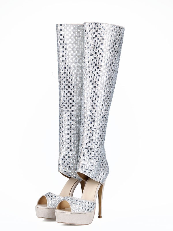 Women's Flock Peep Toe Stiletto Heel With Rhinestones Boots