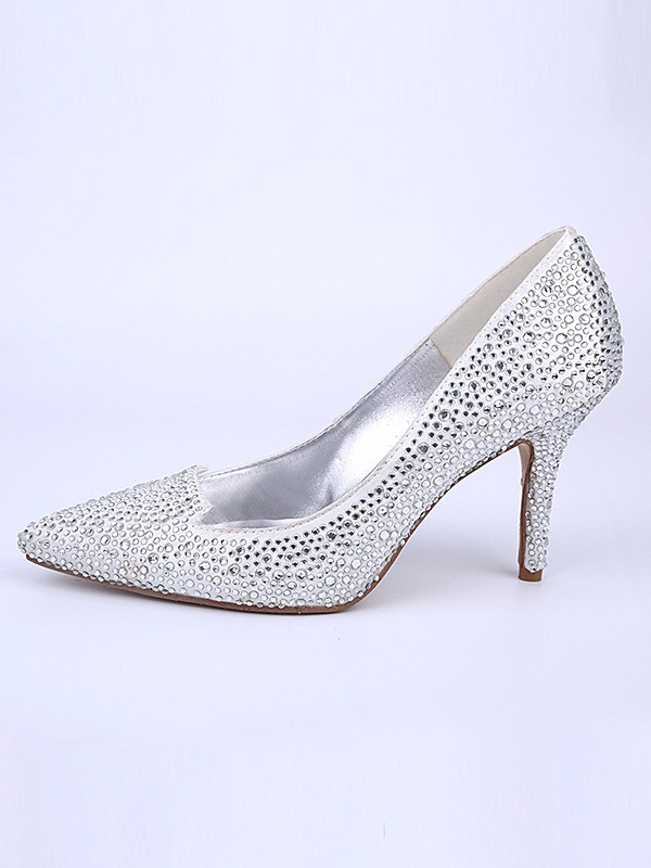 Women's Closed Toe Stiletto Heel With Crystal Wedding Shoes