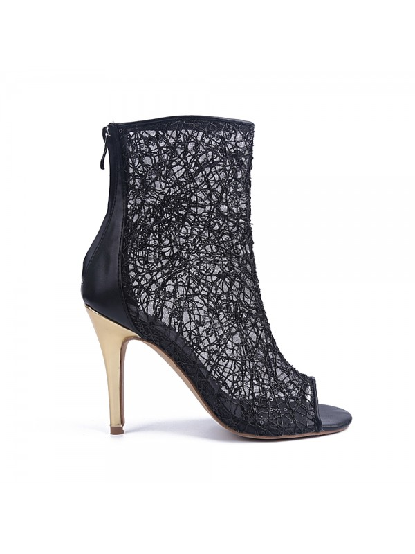 Women's Lace Peep Toe Stiletto Heel With Zipper Party Sandal Ankle Boots
