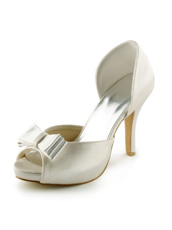 Women's Satin Stiletto Heel Peep Toe Platform Sandals Wedding Shoes With Bowknot