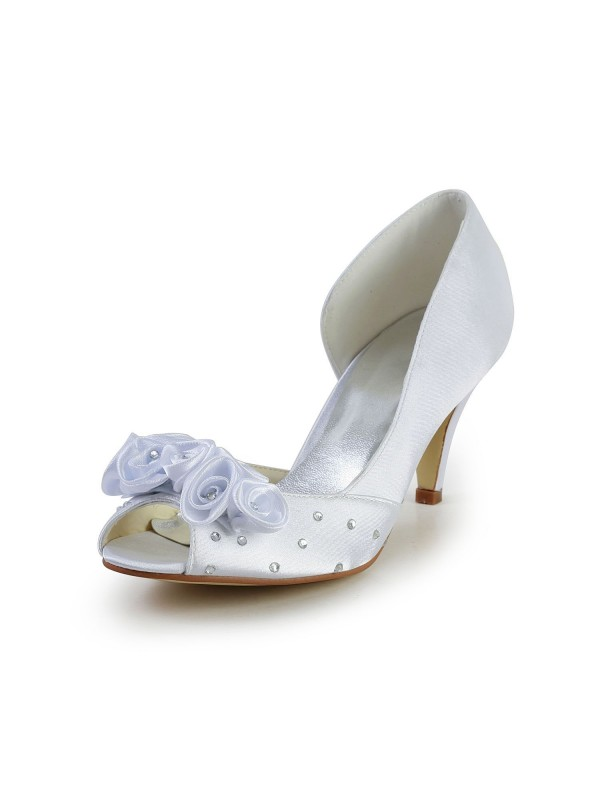 Women's Satin Cone Heel Peep Toe Wedding Shoes With Flower Rhinestone