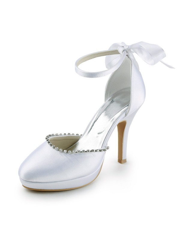 Women's Satin Stiletto Heel Closed Toe with Rhinestones Wedding Shoes