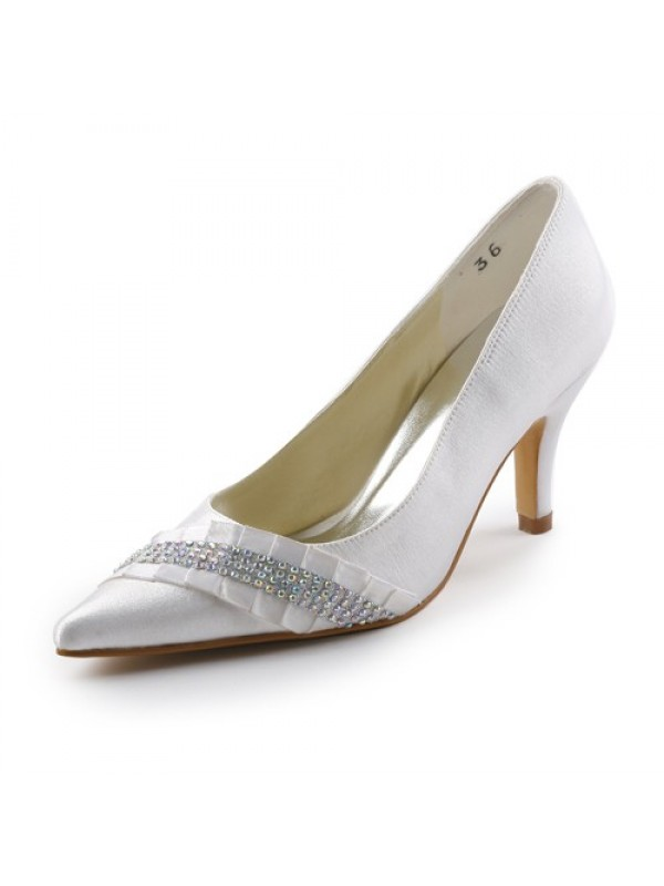 Women's Satin Stiletto Heel Pointed toe With Rhinestone Wedding Shoes