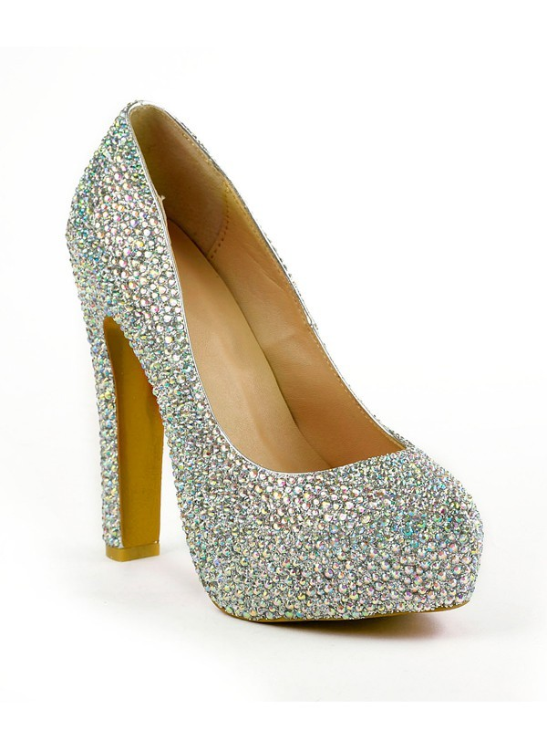 Women's Stiletto Heel Closed Toe With Rhinestones Platform Platforms Shoes