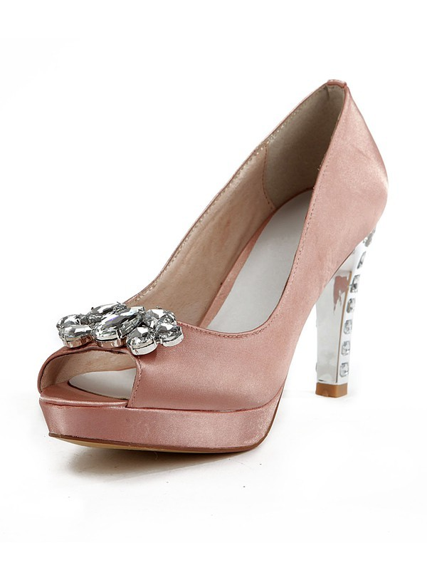 Women's Silk Peep Toe Stiletto Heel Platform With Rhinestone Platforms Shoes