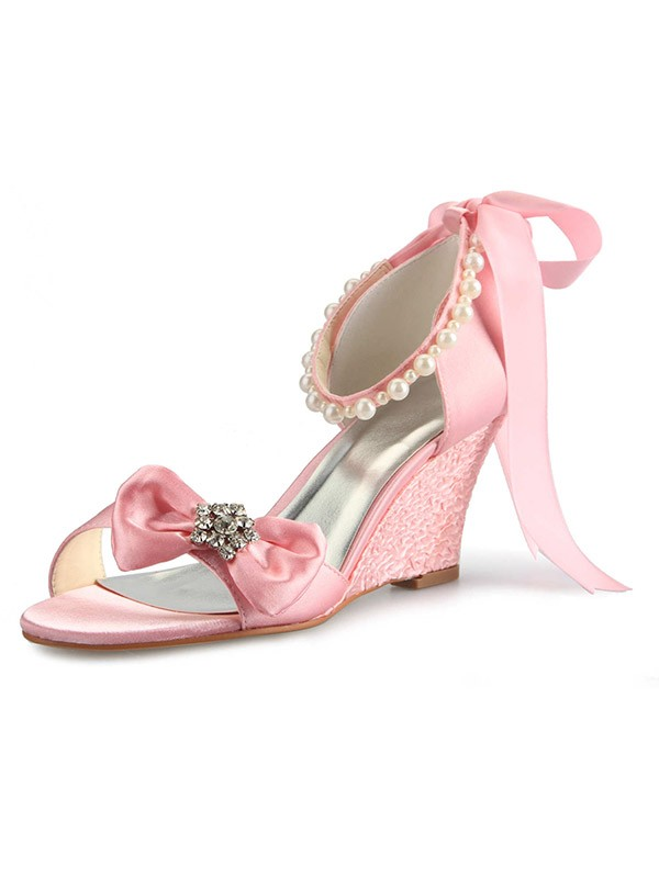 Women's Satin Wedge Heel Peep Toe With Rhinestone Pearl Bowknot Wedding Shoes