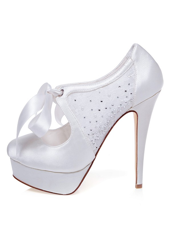 Women's Satin Closed Toe Stiletto Heel With Silk Wedding Shoes