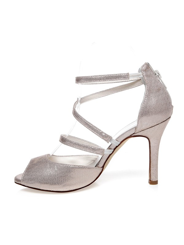 Women's PU Peep Toe With Zipper Stiletto Heel Wedding Shoes