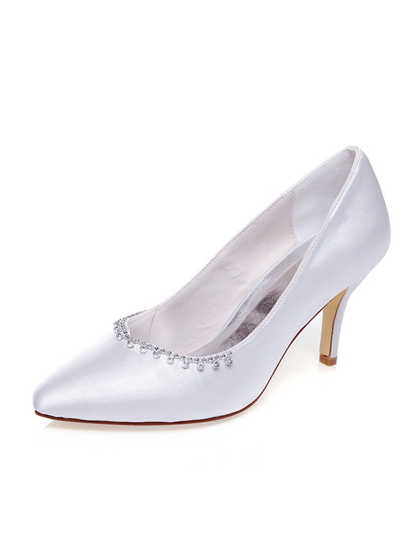 Women's Satin Closed Toe With Beading Stiletto Heel Wedding Shoes