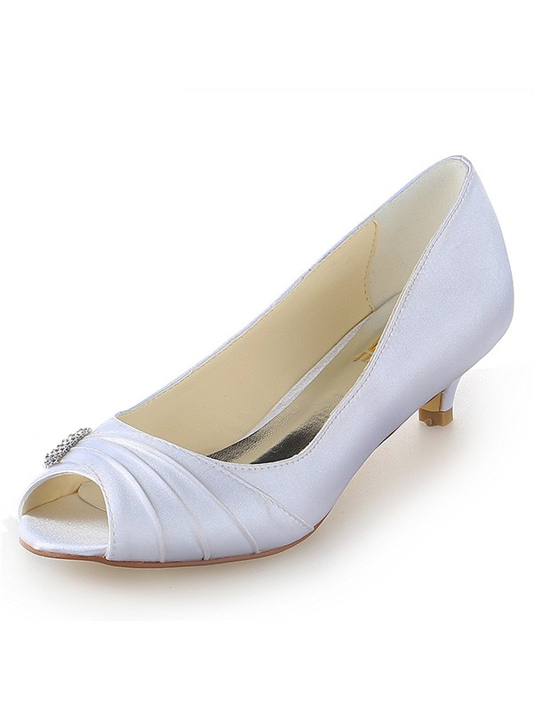 Women's Satin Peep Toe Kitten Heel With Rhinestone Wedding Shoes