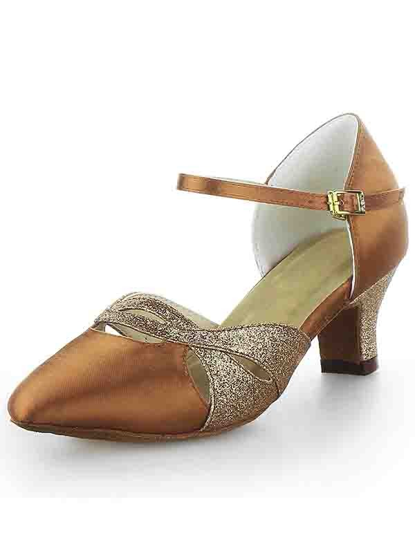 Women's Satin Closed Toe Chunky Heel With Buckle Sparkling Glitter Dance Shoes