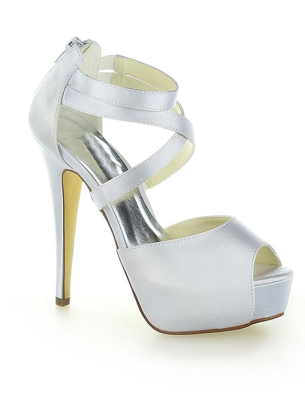 Women's Satin Platform Peep Toe With Zipper Stiletto Heel Wedding Shoes