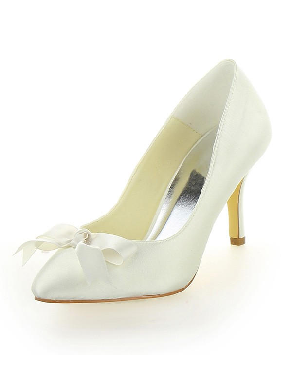 Women's Stiletto Heel Satin Closed Toe With Bowknot Wedding Shoes