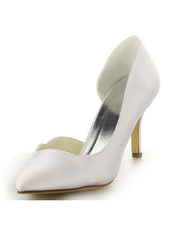 Women's Satin Closed Toe Stiletto Heel Wedding Shoes