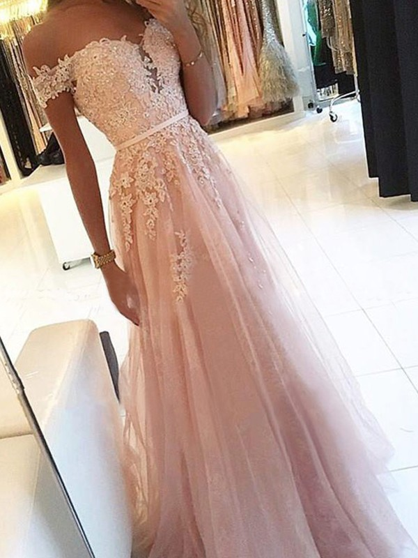 A-Line/Princess Off-the-Shoulder Floor-Length Sleeveless Tulle Applique Dresses