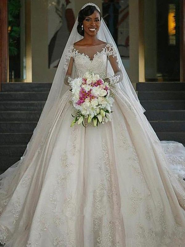 Ball Gown Bateau Long Sleeves Applique Satin Sweep/Brush Train Wedding Dresses