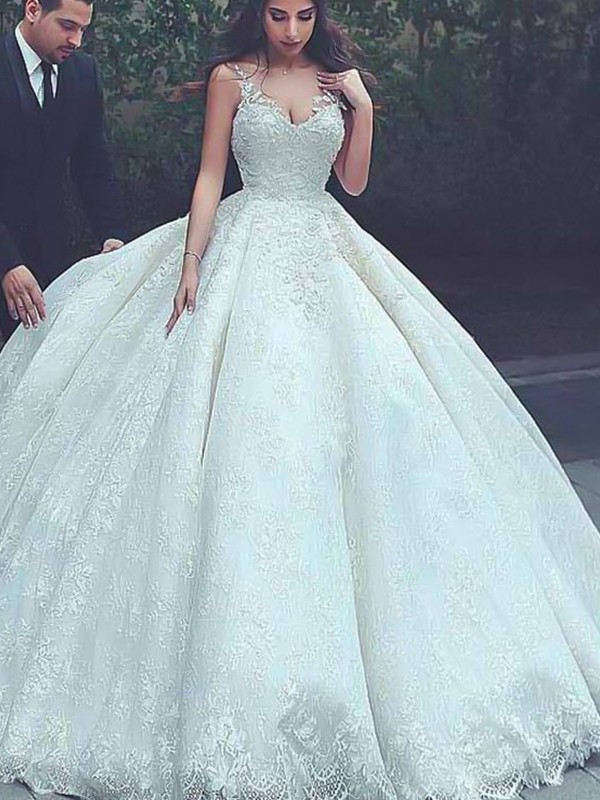 Ball Gown Spaghetti Straps Sweep/Brush Train Lace Sleeveless Tulle Wedding Dresses