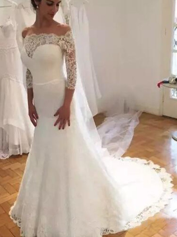Trumpet/Mermaid Off-the-Shoulder Sweep/Brush Train Ruffles 3/4 Sleeves Lace Wedding Dresses
