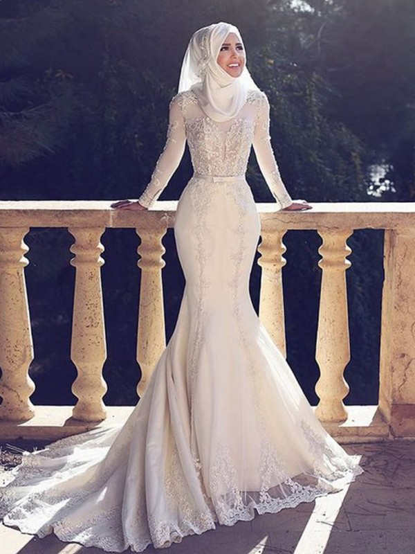 Trumpet/Mermaid Tulle Jewel Sweep/Brush Train Lace Long Sleeves Wedding Dresses