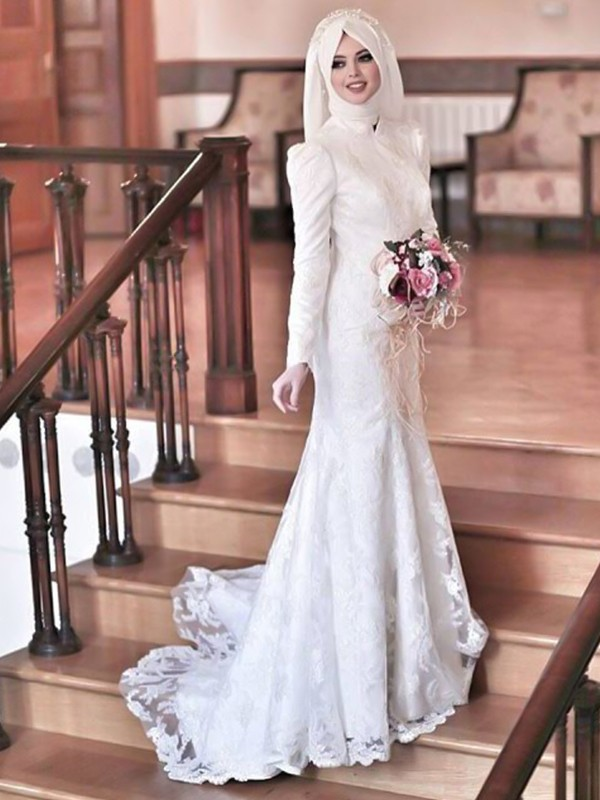 Trumpet/Mermaid High Neck Lace Tulle Sweep/Brush Train Long Sleeves Wedding Dresses