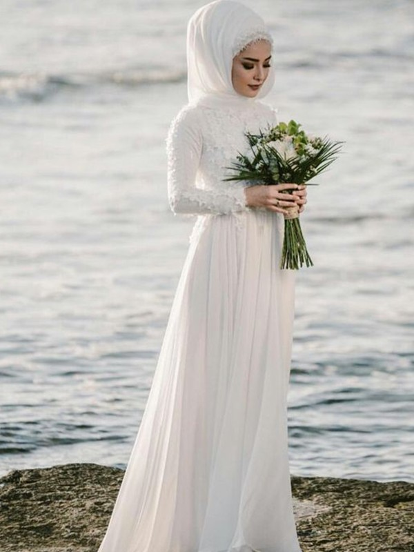 A-Line/Princess Jewel Chiffon Floor-Length Long Sleeves Wedding Dresses