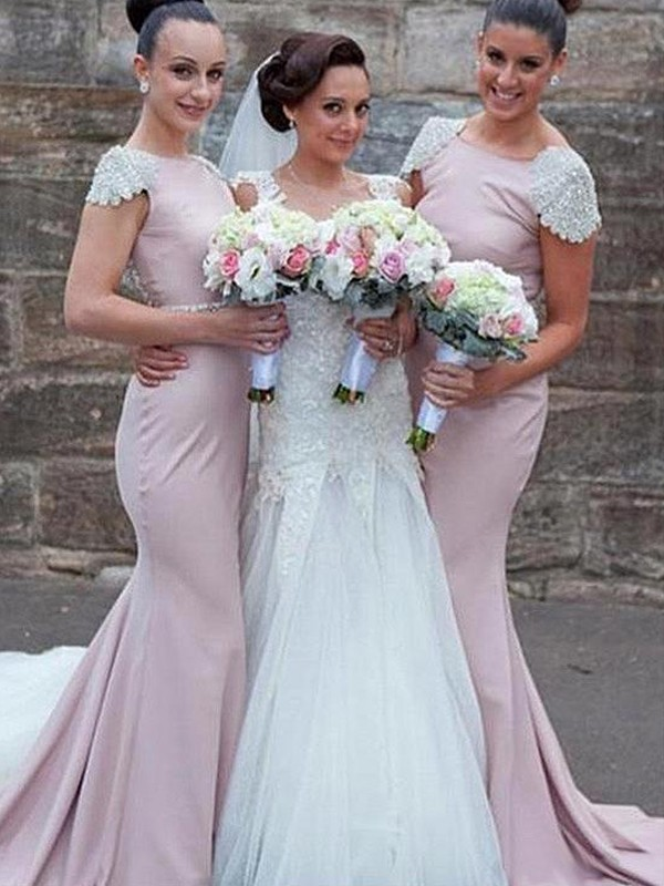 Trumpet/Mermaid Bateau Satin Sweep/Brush Train Sleeveless Bridesmaid Dresses