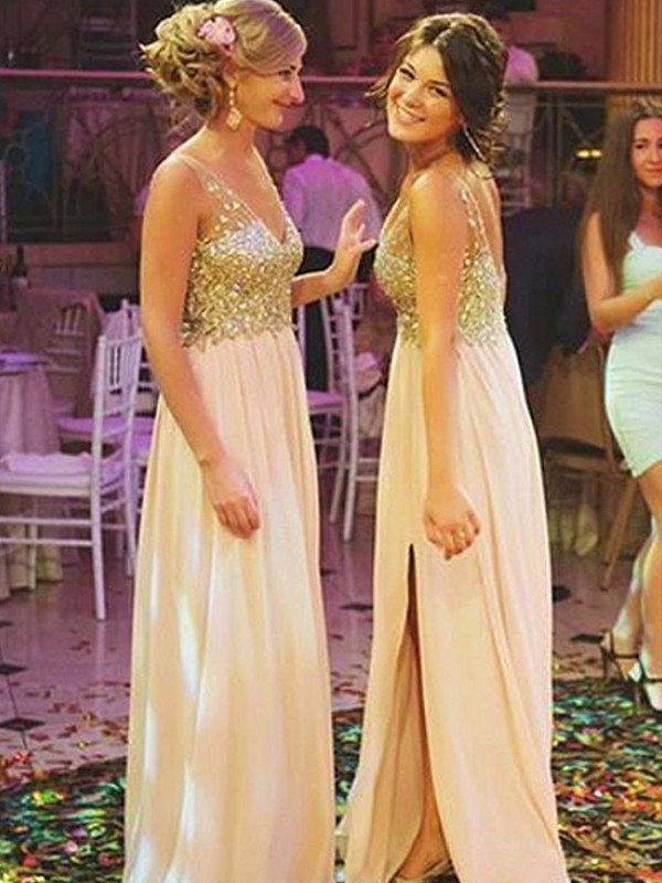 A-Line/Princess Sleeveless V-neck Chiffon Long Bridesmaid Dresses
