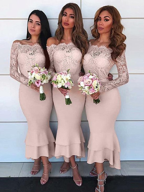Sheath/Column Off-the-Shoulder Jersey Ankle-Length Long Sleeves Bridesmaid Dresses
