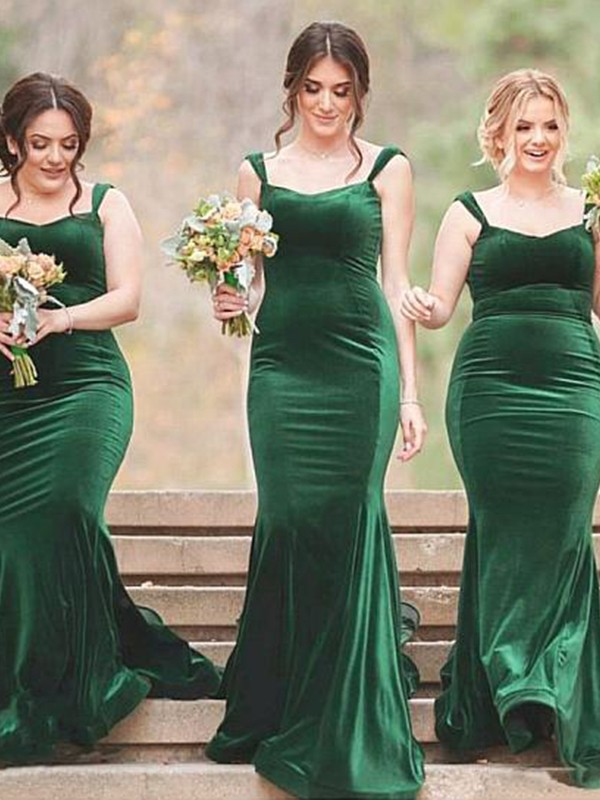 Sheath/Column Spaghetti Straps Velvet Sleeveless Sweep/Brush Train Bridesmaid Dresses