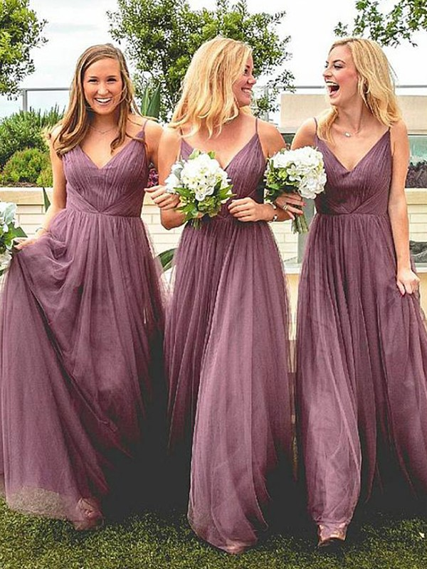 A-Line/Princess Spaghetti Straps Tulle Floor-Length Sleeveless Bridesmaid Dresses