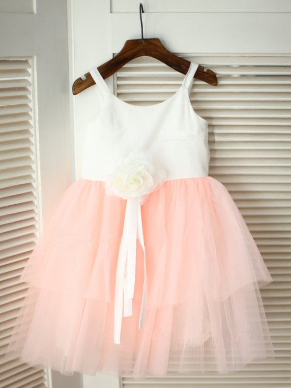 A-line/Princess Spaghetti Straps Sleeveless Tea-Length Tulle Flower Girl Dresses