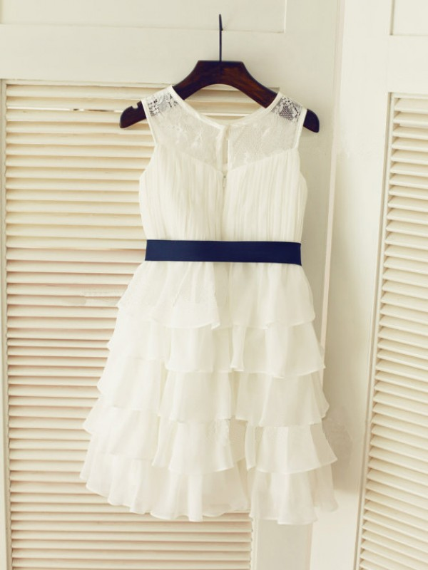 Princess Scoop Sleeveless Ruched Tea-Length Chiffon Dresses