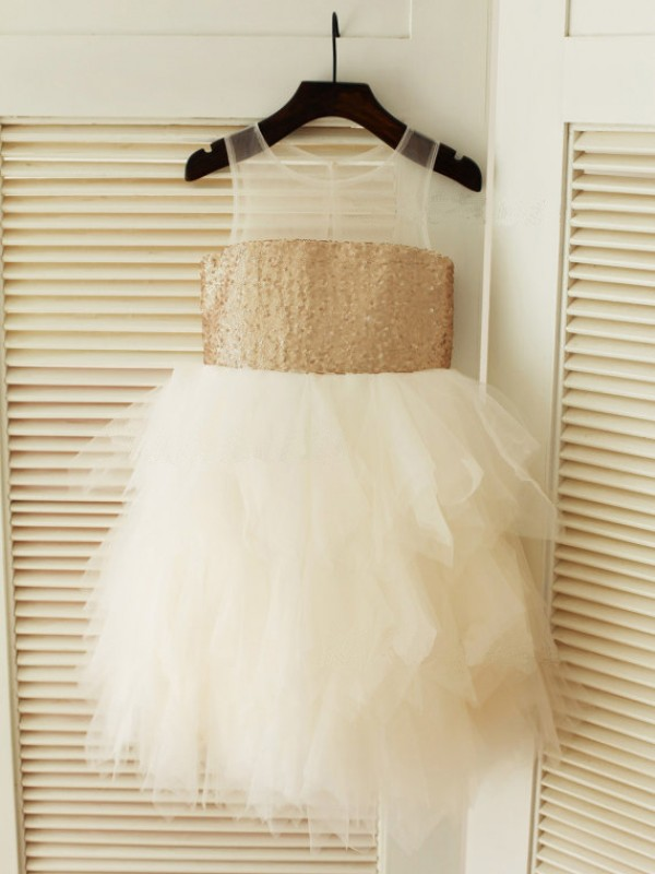 Ball Gown Scoop Sleeveless Tea-Length Tulle Dresses
