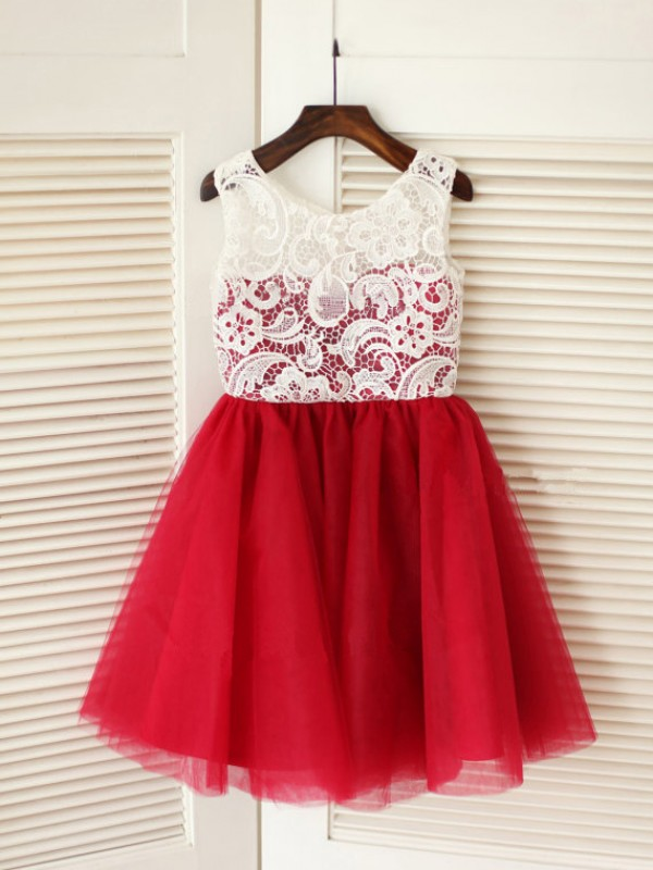 A-line Scoop Sleeveless Lace Knee-Length Tulle Dresses