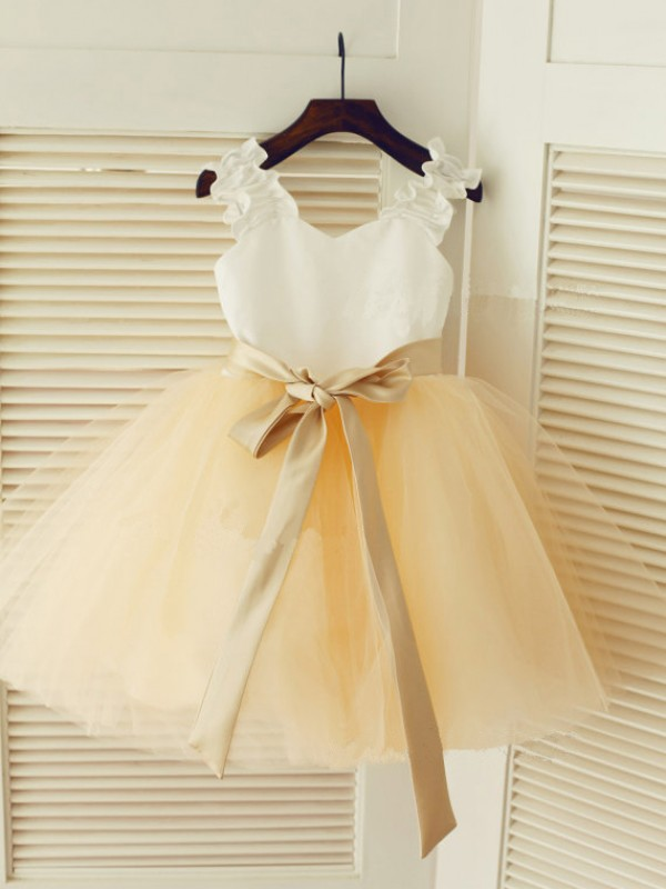 Straps Ball Gown Sleeveless Belt Tea-Length Tulle Dresses