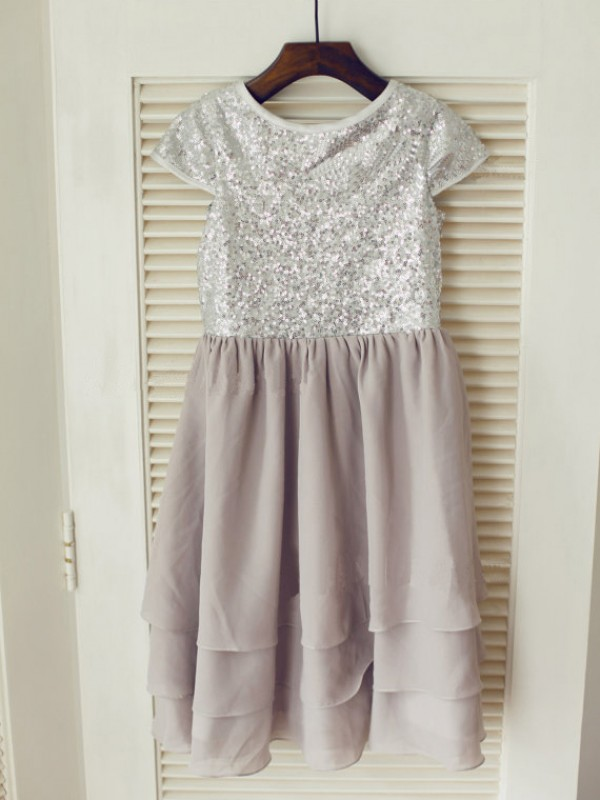 Princess Jewel Short Sleeves Sequin Tea-Length Chiffon Dresses