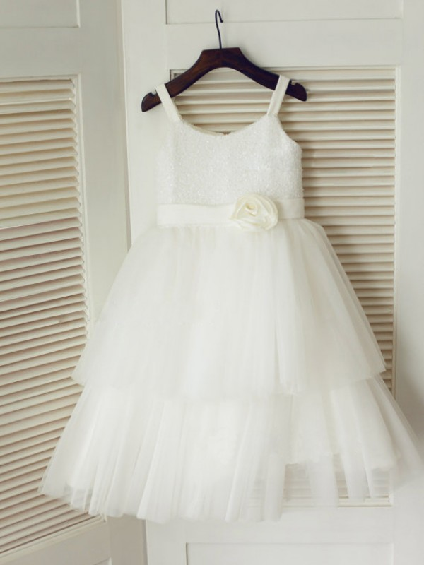 Princess Spaghetti Straps Sleeveless Hand-Made Flower Tea-Length Tulle Dresses