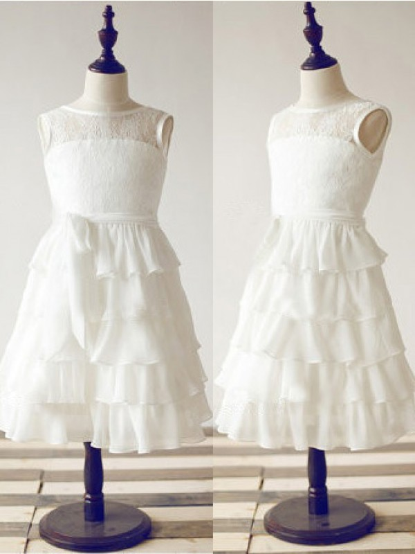 A-line Scoop Sleeveless Lace Tea-Length Chiffon Dresses