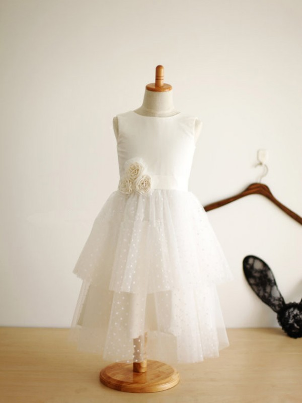 A-line Jewel Sleeveless Hand-Made Flower Tea-Length Tulle Dresses