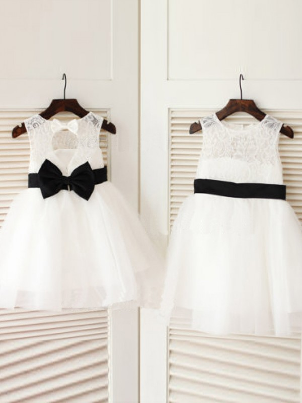 A-line/Princess Scoop Bowknot Knee-Length Tulle Dresses