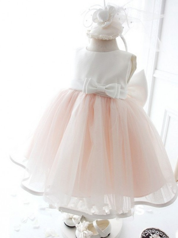 Ball Gown Jewel Sleeveless Organza Tea-Length Dresses